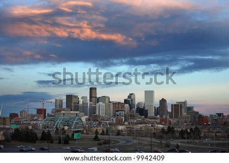 denver, colorado downtown skyline at sunset - stock photo