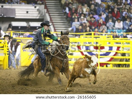 DENVER, COLORADO - JANUARY 25: Top-ranked PRCA Tie Down Roper, Josh Peek of Colorado, wins the prestigious National Western Stock Show's championship round and Tie Down Roping Title on Jan. 25, 2009 in Denver, Colorado. - stock photo