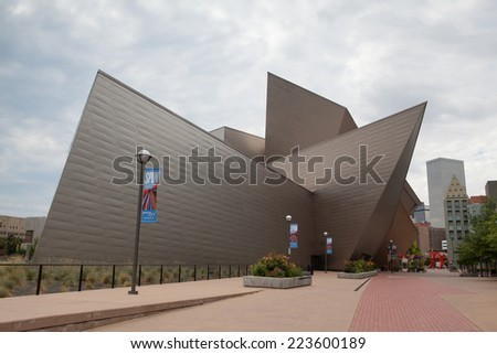DENVER-COLORADO: July 21, 2013: Modern art and modern architecture in Denver, Colorado, USA . - stock photo