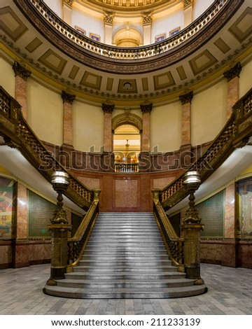 DENVER, COLORADO - JULY 24: Staircase in the rotunda of the Colorado State Capitol building on July 24, 2014 in Denver, Colorado - stock photo