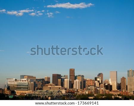 Denver, Colorado-June 9, 2012: A view of Denver, Colorado downtown right before sunset.