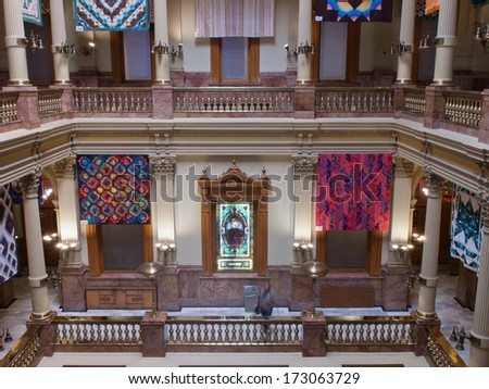 Denver, Colorado-June 23, 2011: Capitol quilt show 2011. A view of the interior of the Colorado State Capitol in Denver.