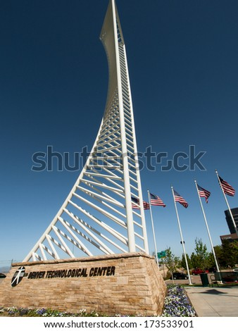 Denver, Colorado-May 4, 2012: The Denver Tech Center is symbolized by the DTC Identity Monument, which meant to resemble the framework of a skyscraper.