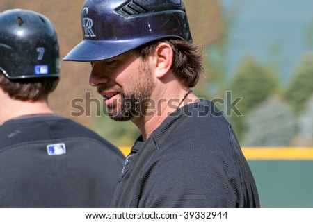 DENVER, COLORADO - OCTOBER 12: Todd Helton before game 4 of the Colorado Rockies, Philadelphia Phillies National League Division Series on October 12, 2009 in Denver Colorado.