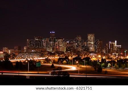 Denver, Colorado skyline at night - stock photo