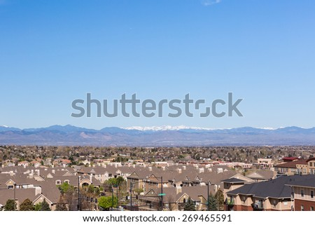 Denver, Colorado, USA-April 13, 2015. Aerial view of typical suburbia in North America. - stock photo