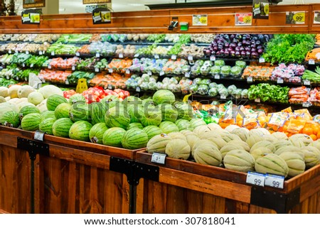 Denver, Colorado, USA-August 19, 2015. Fresh produce at the local grocery store.