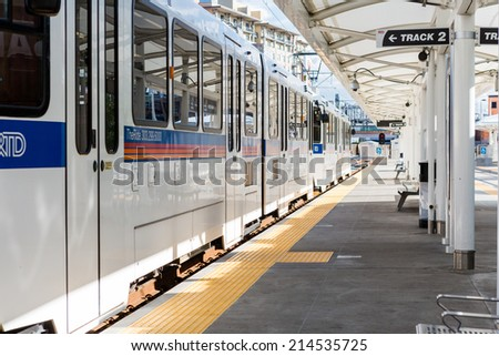 Denver, Colorado, USA-August 31, 2014. Union Station lightrail stop in downtown Denver, Colorado.