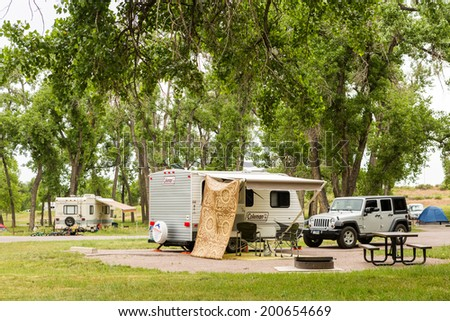 Denver, Colorado, USA - June 20, 2014. RV camping at Cherry Creek State Park in Denver, Colorado.