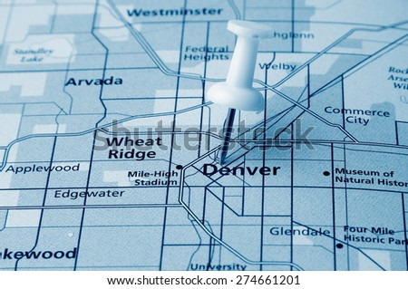 Denver  destination in the map - stock photo