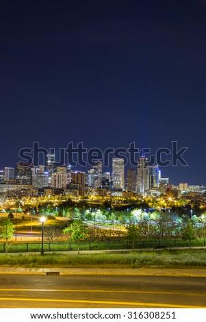 Denver downtown panorama, Colorado, USA - stock photo