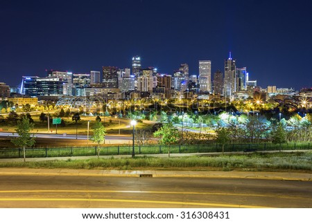 Denver downtown panorama, Colorado, USA - stock photo
