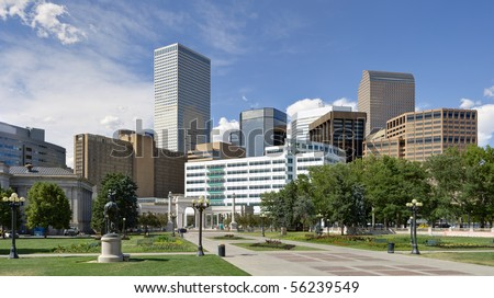 Denver downtown view from south east side of town - stock photo