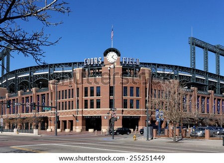 DENVER - FEBRUARY 9: Coors Field in Denver, Colorado on February 9, 2015. Coors Field is a ballpark and the home field of Major League Baseball's Colorado Rockies. - stock photo
