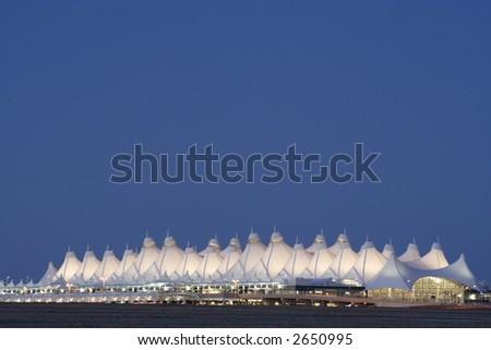 Denver International Airport at dusk - stock photo