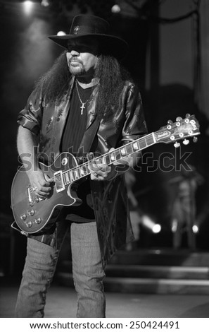 DENVERJULY 02:Guitarist Gary Rossington of the Southern Rock Band Lynyrd Skynyrd performs in concert July 24, 2002 at Red Rocks Amphitheater in Denver, CO.  - stock photo