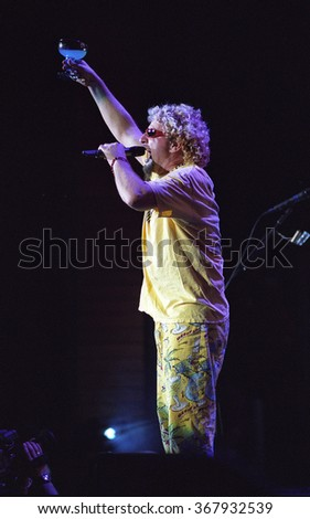 DENVERJUNE 19:Vocalist/Guitarist Sammy Hagar performs June 19, 2002 at Fiddlers Green Amphitheater in Denver, CO.  - stock photo