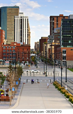 Denver Looking Down 16th Street Mall - stock photo