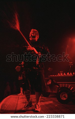 DENVERMARCH 03:Rapper  Violent J of the Horrorcore Rap band Insane Clown Posse performs in concert March 3, 2000 at the Ogden Theater in Denver, CO. - stock photo