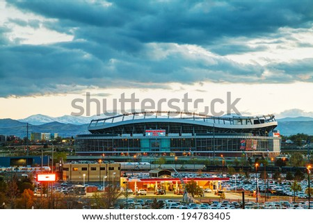 DENVER - May 1, 2014: Sports Authority Field at Mile High in Denver on May 1, 2014 in Denver, Colorado. It's a multi-purpose arena in Denver, Colorado, United States. - stock photo
