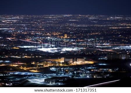 Denver Metro Area at Night. Urban Panorama - stock photo