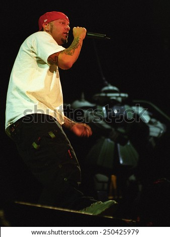DENVER	NOVEMBER 00:		Vocalist Fred Durst of the Alternative Band Limp Bizkit performs in concert November 10, 2000 at the Pepsi Center in Denver, CO.  - stock photo