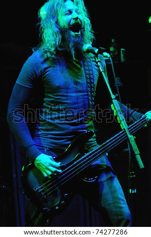 DENVER - OCTOBER 4: Bassist/Vocalist Troy Sanders of the Heavy Metal band Mastodon performs in concert October 4, 2010 at Red Rocks Amphitheater in Denver, CO.