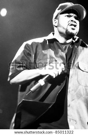 DENVER - OCTOBER 6:Rapper Ice Cube performs in concert October 6, 1998 at McNichols Arena in Denver, CO. - stock photo