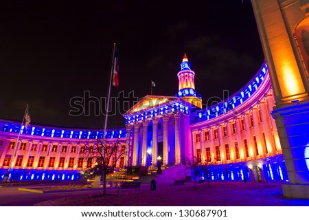 Denver's City and County building decorated for the Denver Broncos game. - stock photo