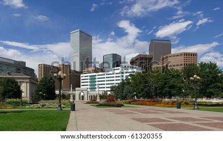 Denver Skyline from Civic Park. Summer of 2010. - stock photo