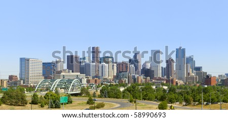 Denver Skyline Panorama 2010. Late afternoon summer. - stock photo