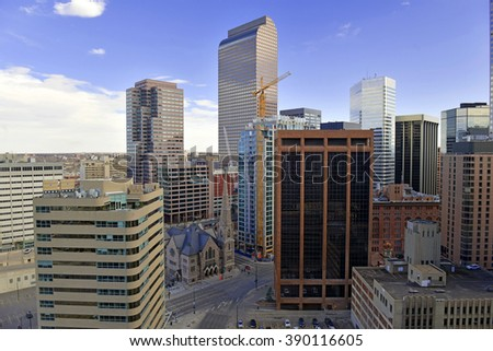 Denver, the capital city of Colorado has attracted an increased amount of business in recent years and is known as the Wall Street of the West.  - stock photo