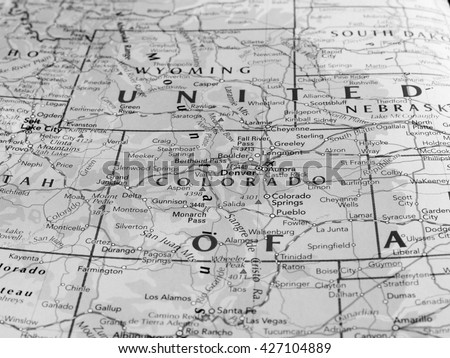 DENVER, USA - CIRCA MAY 2016: Map of the state of Colorado with selective focus on state name in black and white