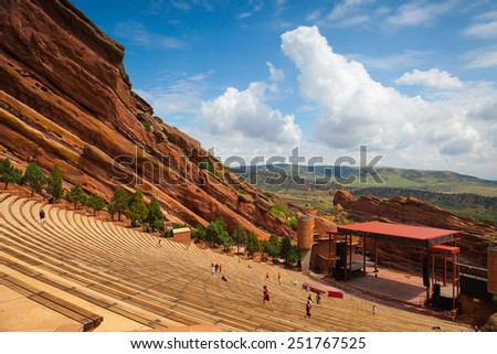 Denver, USA: July 21, 2012: Famous Red Rocks Amphitheater in Morrison. It is a rock structure near Morrison, Colorado, 10 miles west of Denver, where concerts are given in the open-air amphitheatre. - stock photo