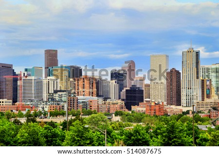 DENVER, USA - July, 4: Skyline of Denver on July 4, 2013  in Colorado, USA.  Denver is the most populous city in Colorado.
