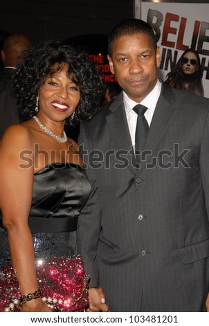 Denzel Washington and wife Pauletta  at 'The Book Of Eli' Premiere, Chinese Theater, Hollywood, CA. 01-11-10 - stock photo