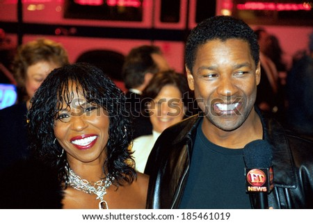 Denzel Washington and wife Paulette at premiere of OUT OF TIME, 9/29/2003 - stock photo