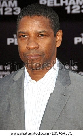 Denzel Washington at THE TAKING OF PELHAM 123 Premiere, Mann's Village Theatre in Westwood, Los Angeles, CA June 4, 2009  - stock photo