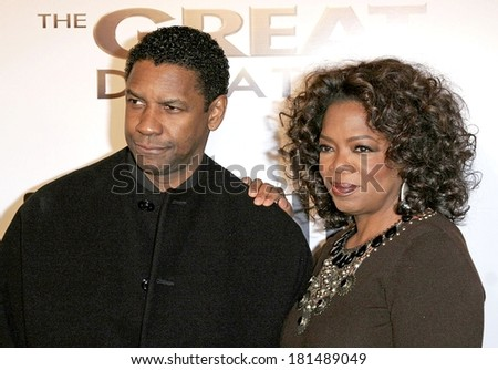 Denzel Washington, Oprah Winfrey at THE GREAT DEBATERS Premiere, ArcLight Cinerama Dome, Los Angeles, CA, December 11, 2007 - stock photo