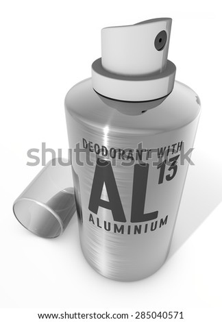 Deodorant spray with aluminum, Warning - stock photo