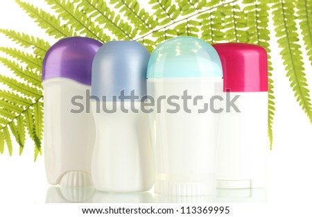 deodorants with green leaf isolated on white