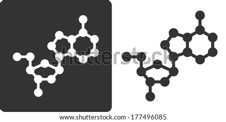 Deoxyadenosine (dA) DNA building block, flat icon style. Oxygen, carbon and nitrogen atoms shown as circles; Hydrogen atoms omitted. - stock photo