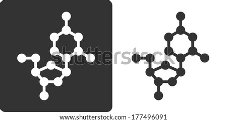 Deoxycytidine (dC) DNA building block, flat icon style. Oxygen, carbon and nitrogen atoms shown as circles; Hydrogen atoms omitted. - stock photo