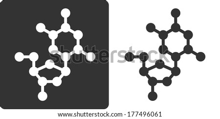 Deoxythymidine (dT) DNA building block, flat icon style. Oxygen, carbon and nitrogen atoms shown as circles; Hydrogen atoms omitted. - stock photo