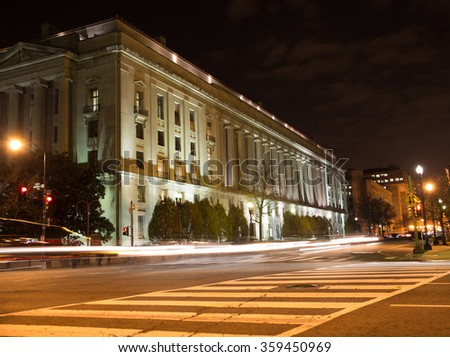 Department of Justice Building. Robert F. Kennedy building at night - stock photo