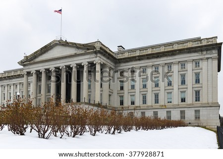 Department of Treasury in winter - Washington DC USA - stock photo