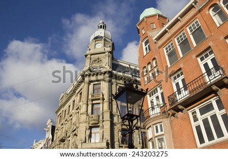 Department stores in historical buildings in Amsterdam, Holland - stock photo