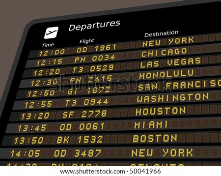Departure board - destination airports. Vector illustration - the letters and numbers for easy editing your own messages are embedded outside the viewing area. USA destinations. - stock photo