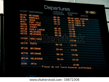 Departure Board for flights leaving Auckland Airport, New Zealand - stock photo