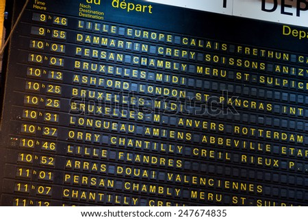 Departure board on the train station in Paris, France